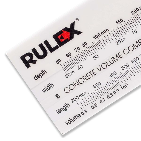 Rulex concrete volume calculator slide chart